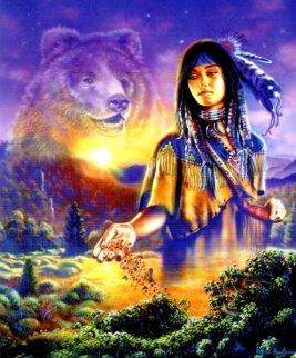 Pachamama, Madre Tierra, con un oso y la VIDA